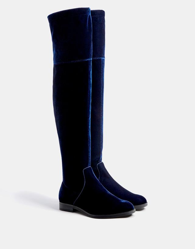 Botas altas terciopelo azules