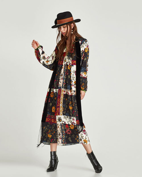 Zara Trafaluc vestido de flores largo