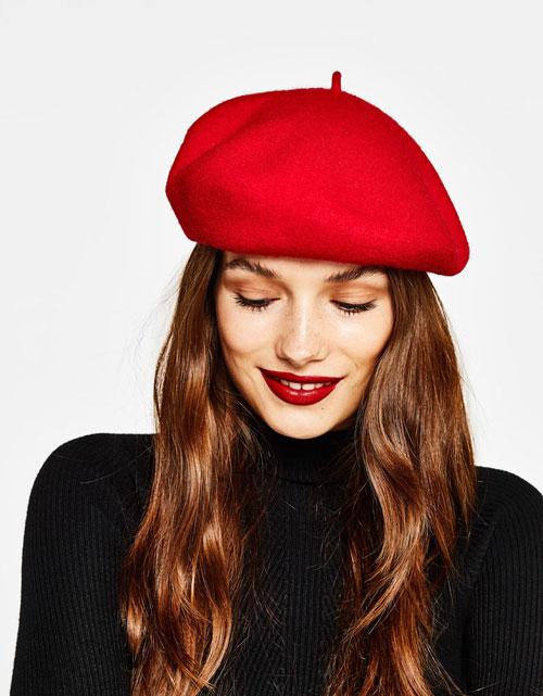 Gorros para mujer boina roja