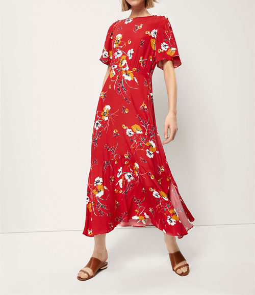 Vestidos con flores rojo