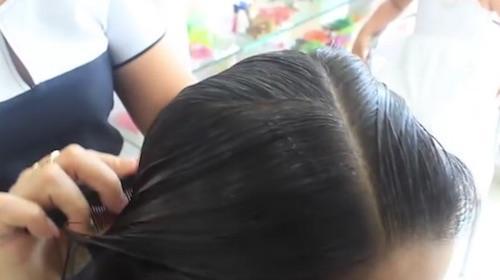 División diagonal cabello