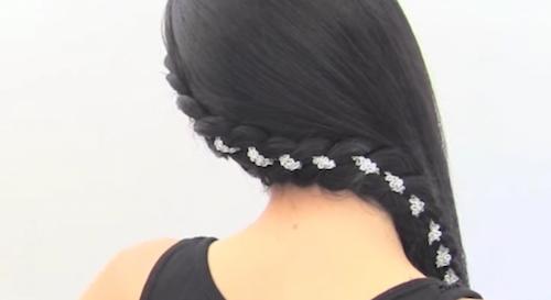 Peinado con trenza con cinta