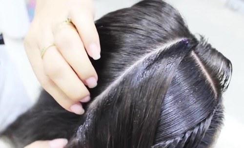 Separar una porción del cabello