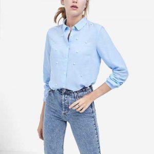 Camisa azul stradivarius