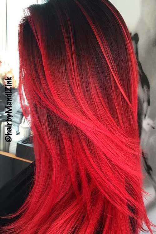 Colores de pelo rojo intenso