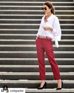 Outfits rojos con pantalón