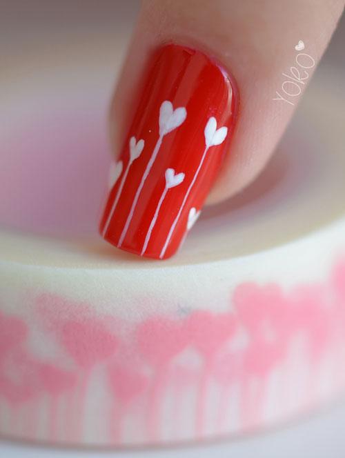 Uñas decoradas para el día de San Valentín