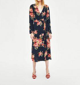 Vestidos con flores manga larga midi